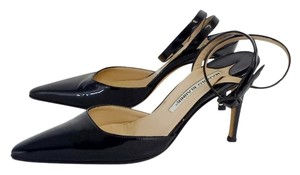 Manolo Blahnik Black Patent Leather Heels Sandals