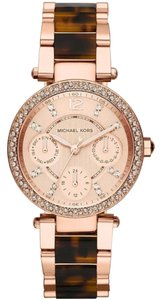 Michael Kors NWT Chronograph Mini Parker Tortoise Acetate and Rose GoldWatch MK5841