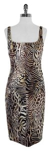 David Meister short dress Brown Tan Animal Print on Tradesy