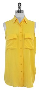Equipment Yellow Sleeveless Silk Top
