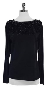 St. John Black Beaded Fringe Wool Sweater