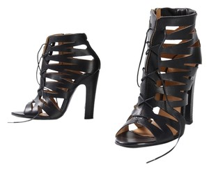 Diesel Bea Leather Gladiator Booties Black Sandals