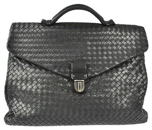 Bottega Veneta Auth BOTTEGA VENETA Intrecciato Leather Brief Case Black Hand Bag Italy LP01797
