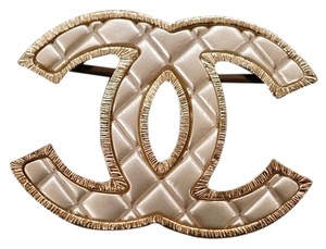Chanel Chanel Pearl Quilted Brooch with Gold Metal