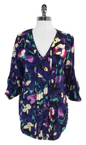 Yumi Kim Multi Color Floral Print Silk Top