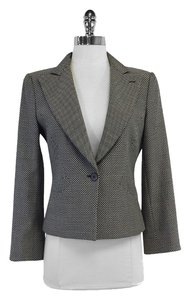 Armani Cream Black Checkered Print Jacket