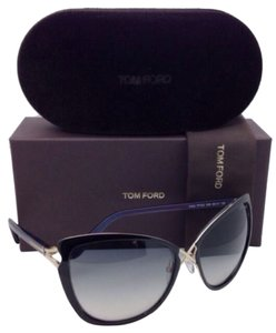 Tom Ford New TOM FORD Sunglasses Ceilia TF 322 32B 59-17 Black & Gold Cat Eye Frame w/Grey Gradient Lenses