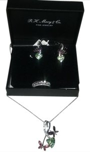 Kaleidoscope REDUCED-3 Pieces-Swarovski Butterfly Pendant & Earrings & Size 7 Ring
