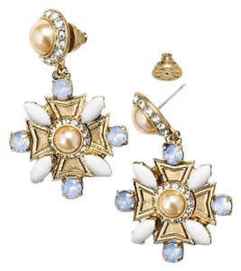 Tory Burch Tory Burch Selma Drop Earrings New With Tag Gold Resin Brass Diamond White Blue