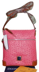 Dooney & Bourke Ostrich Leather Pink Lined Cross Body Bag