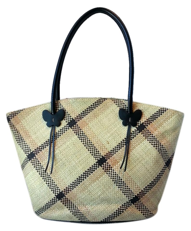 0c176bec87e Etienne Aigner With Butterfly Accents Black/Tan Straw Tote