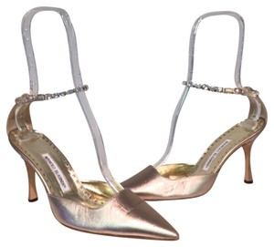 Manolo Blahnik 40 10 Gold Swarovski Pewter Pumps