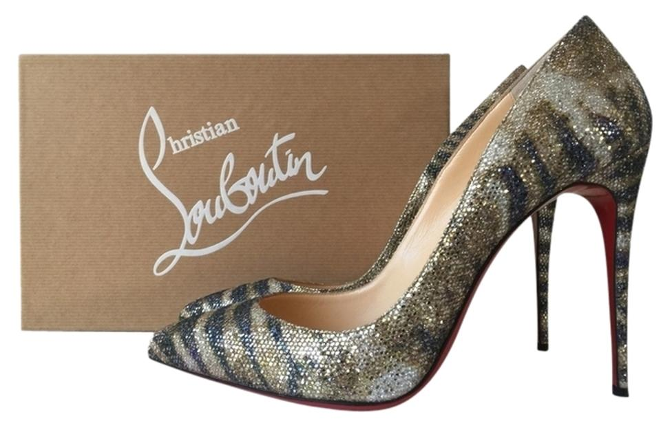 Christian Louboutin Gold Pigalle Tiger Follies 100 Glitter Sirene Tiger Pigalle Print Pumps 7c9fcf