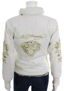 Ed Hardy Fur Lined Hoodie Motorcycle Jacket