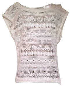 Sanctuary Clothing Beach Cover Up Shirt Lace Woven Cream Neutral Top Off White