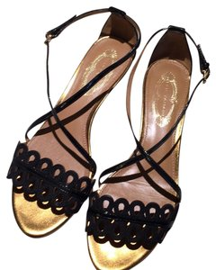 Elie Tahari Sandals Patent Leather Lace Laser Cut Cross Over Ankle Strap Instep Dressy Night Out Date Night Casual Gold Wedge Heel Black Flats