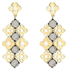 Tory Burch Tory Burch Babylon Chandelier Gold Plated Stones Drop Stud Earrings New With Tag