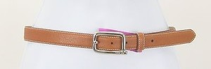 DKNY Dkny 30 Saddle Tan Pebbled Leather Silvertone Buckle Womens Belt B223
