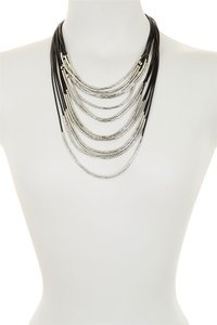 Nordstrom NEW Nordstrom Silver & Black Layered Long Necklace