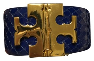 Tory Burch Tory Burch Wide T Hinged Bracelet Blue Gold Logo New With Tag