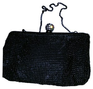Whiting & Davis Evening Metal Silk Vintage Black Clutch