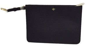 Tory Burch Large Navy Leather York Pouch Case Clutch Brand New