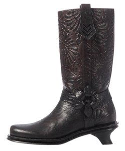 Fendi Floral Tooled Brown Boots
