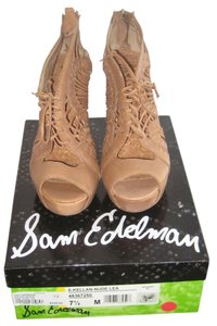Sam Edelman Leather Wedge High Tall Nude Wedges
