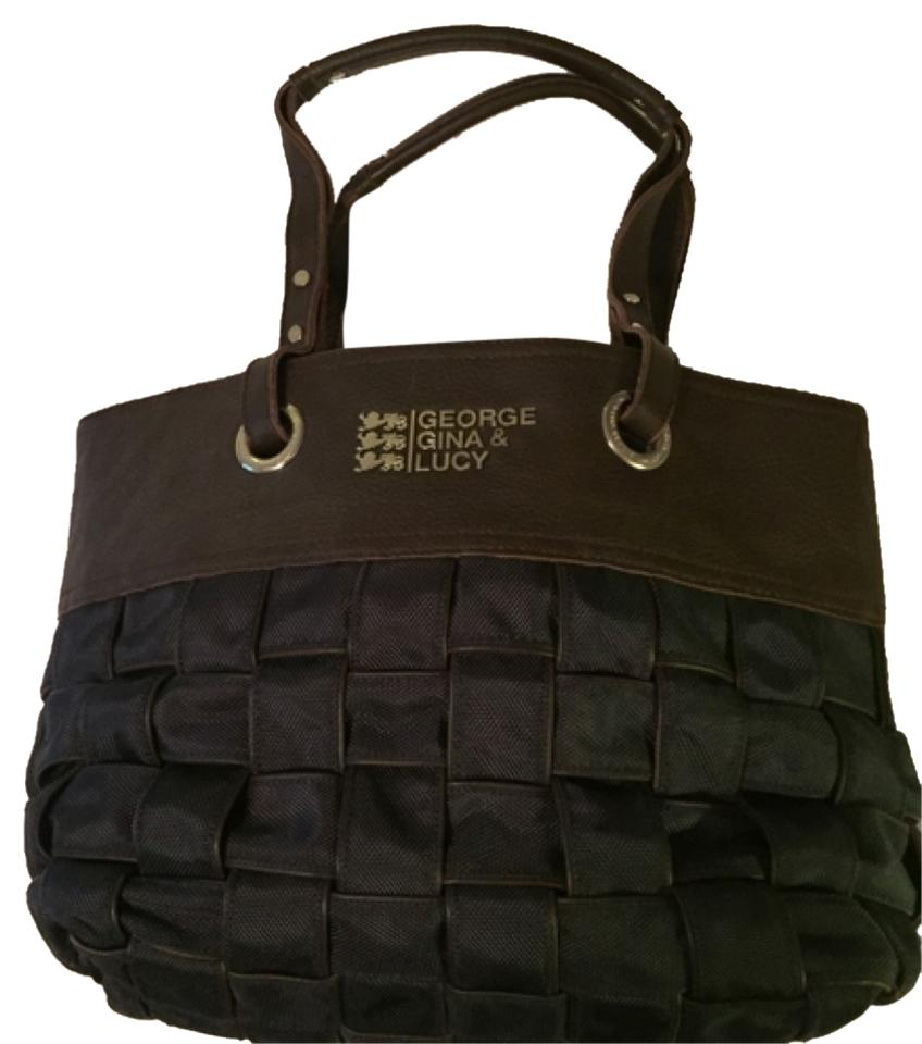 george gina lucy woven shopper blue and brown leather hobo bag tradesy. Black Bedroom Furniture Sets. Home Design Ideas