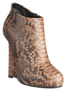 Giuseppe Zanotti Wedge Snakeskin Leather Brown Ivory Brown Snakeskin Boots