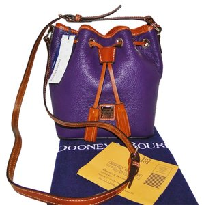 Dooney & Bourke Drawstring Pebble Leather Aubuergine Cross Body Bag