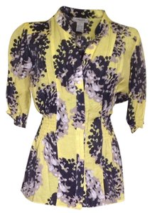 Vertigo Paris Top Yellow Background. Khaki, Black & White Floral