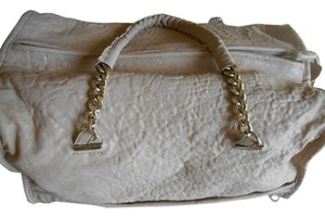 Tre Vero Gold Chain And Leather Straps Soft Pebbled Grain Leather Top Zipper For Closure Completely Lined Multi Function On Satchel in Cream/Off White