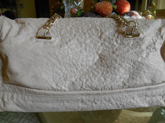 Tre Vero Gold Chain And Leather Straps Soft Pebbled Grain Leather Top Zipper For Closure Completely Lined Multi Function On Satchel in Cream/Off White Image 2