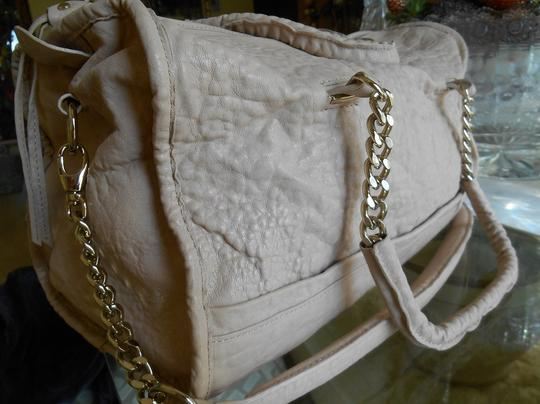 Tre Vero Gold Chain And Leather Straps Soft Pebbled Grain Leather Top Zipper For Closure Completely Lined Multi Function On Satchel in Cream/Off White Image 3