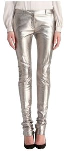 Diane von Furstenberg Straight Pants SILVER METALLIC LEATHER
