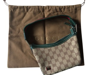 Gucci Design Red Leather Trim Baguette
