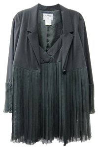 Chanel 2 Piece Chiffon Pleated Chic Classy Black Blazer