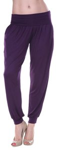 White Mark Harem Baggy Leggings Comfy Ankle Light-weight Pockets Trouser Pants Purple