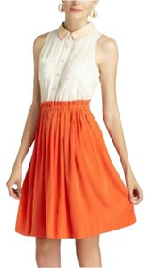 Anthropologie short dress Ivory/orange on Tradesy