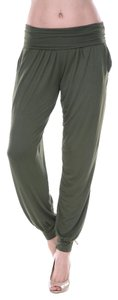 White Mark Harem Harlow Baggy Comfy Soft Baggy Pants Army Green