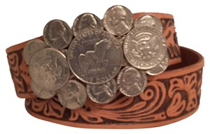 Handcrafted Tooled Leather Real Coins