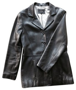 Guess Lambskin Leather Black Blazer