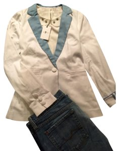 7 For All Mankind Jacket! Top White and blue