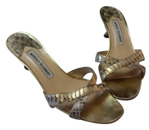 Manolo Blahnik Made In Italy Color Texture Snake Gold Mules