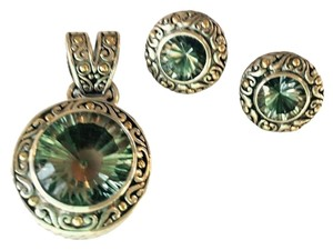 Barmakian Jewelers GREEN AMETHYST PENDANT AND EARRINGS IN SPECTACULAR SILVER SETTING