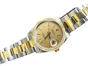 Rolex Authentic ROLEX Oyster Perpetual Date Stainless Steel & 18 Karat Yellow Gold Watch