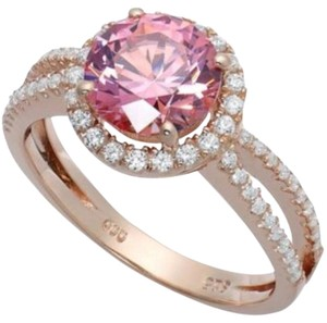 14 K Rose Gold over Sterling Silver and Pink cubic zirconia ring