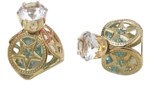 Other Square Gold Tone Green Double Ball Crystal large Stud Earrings J1835
