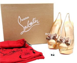 Christian Louboutin Metal Slingbacks Bow Gold Platforms